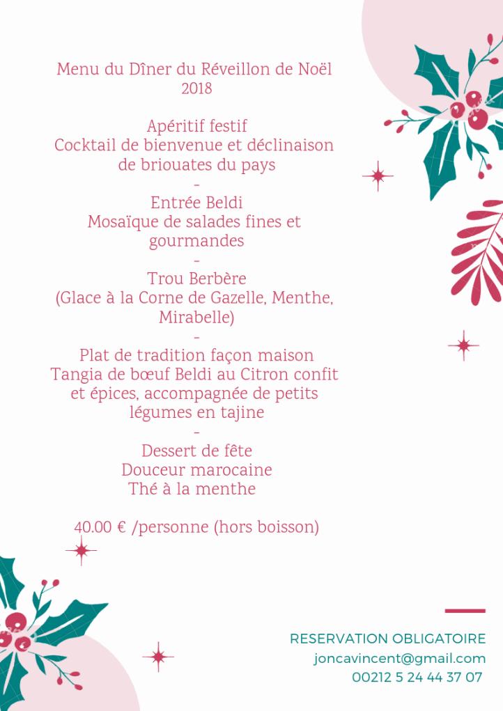 Menu Reveillon De Noel.Menu Du Diner Du Reveillon De Noel 2018 Maroc Marrakech